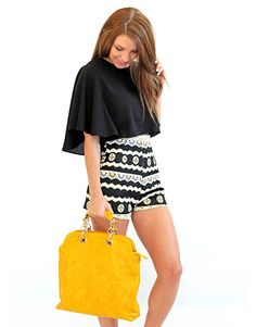 The VIP Black and Cream Printed High Waisted Shorts - Lotus Boutique