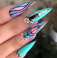 20 New Beautiful Nail Designs. the Best Options for a Manicure 2018 Cute Acrylic Nails, Acrylic Nail Designs, Cute Nails, Pretty Nails, Nail Art Designs, Nails Design, Glam Nails, Bling Nails, Beauty Nails