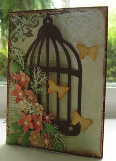 Birdcage with Butterflies Handmade Card...