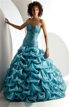 Floor-length Organza Blues Sleeveless Sweet 16 #dress Style Code: 00061 $199