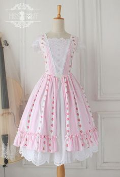 Hooray for custom sizing! Miss Point~Sally Garden~Summer Vintage Pink Lolita Jumper Dress