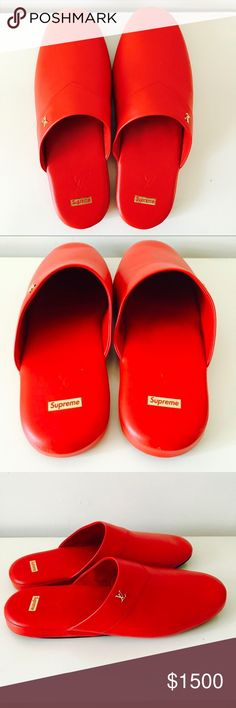 Louis Vuitton x Supreme red slippers Brand new, rare Louis Vuitton x Supreme red leather slippers. Leather upper with velvet soles. Size 8 UK bad 9 USA. Comes with dust bag and leather case Louis Vuitton Shoes Loafers & Slip-Ons