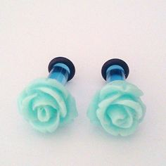 6g 4mm Powder Blue Roses Flower Plugs for Stretched by Glamsquared, $15.00