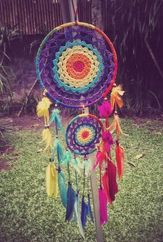 Rainbow Crochet Dream Catcher by THEWORLDOFFEATHERS on Etsy
