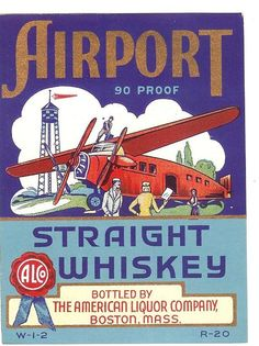 Vintage Airport Whiskey Label 1930s