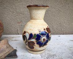 Small Tonala Stoneware Pottery Vase with Floral Design, Mexican Decor, Southwestern Shelf Accent