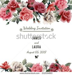 Greeting card with roses, watercolor, can be used as invitation card for wedding, birthday and other holiday and summer background