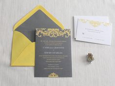 Gray and Yellow Baroque Wedding Invitation by LilacLilyDesign, $3.50