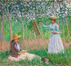 Claude Monet 1887 In The Woods At Giverny - BlancheHoschede Monet At Her Easel With Suzanne Hoschede Reading oil on canvas - 91.4  x 97.8 cm - Los Angeles County Museum of Art CA