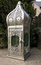 Gorgeous Silver Moroccan Candle Lantern Holder Large 36cm tall - New