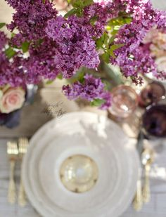 Purple Spring Easter Table Setting with a cabbage vase