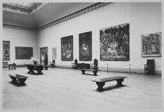 "The Metropolitan Museum of Art, Wing D, Gallery 6: ""French Gothic Tapestries,"" (May 25-September 16, 1928); View including ""The Hunt of the Unicorn"" series. Photographed on May 31, 1928."