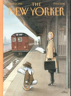 The New Yorker Cover, April Harry Bliss. Woman on train platform looking at Easter bunny who is reading a newspaper and waiting for a commuter train. The New Yorker, New Yorker Covers, Old Magazines, Vintage Magazines, Capas New Yorker, Cover Art, Editorial Illustration, Train Platform, Plakat Design