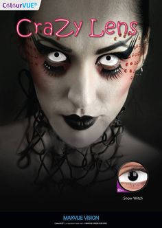 Snow witch sclera contacts 22mm Get them at www.ohmykitty.com #cosplayers #ohmykittydotcom #contacts #circlelenses #popular #cosplay #eyes #makeup #halloween #costumes Zombie Cosplay, Black Contact Lenses, Halloween Ideas, Halloween Costumes, Circle Lenses, Scary, Eye Makeup, Witch, Halloween Face Makeup