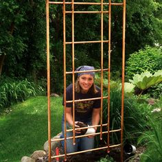 """7 Cheap But Beautiful DIY Garden Decor Ideas. 1 of 7: """"Copper Trellis -- This is one of my favorite pieces to make, and it creates big impact in the garden. You'll need copper pipe, a pipe cutter, and pipe joints from the hardware store. By cutting the pipe to different lengths and using the joints, you can create a geometric trellis to grow everything from jasmine to tomatoes!"""""""