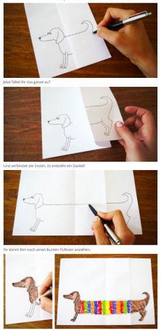 Kennt ihr Falt-Tiere und Falt-Menschen? Hier ist ein ganz einfacher Trick mit viel Spaß – beim Zeichnen und damit spielen: Alles was ihr dafür braucht sind Papier und Stifte.
