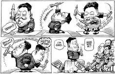 """Columbus (@ColumbusDM)   Twitter   """"Playtime"""" por @Kaltoons vía @TheEconomist #CaricaturaDelDía #Cartón #Moneros #FelizMiércoles #Política #Norcorea #Crisis"""