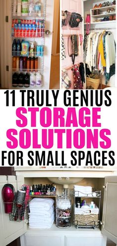 Storage Ideas For Small Spaces: 11 Tips To Organize A Small Home. 11 Truly Genius Storage Solutions For Small Spaces. Learn how to organize any small bedroom, tiny kitchen, and cramped bathroom with these 11 smart storage ideas for small spaces. Small Space Storage, Small Space Organization, Home Organization, Storage Spaces, Organize Small Spaces, Bedroom Storage Ideas For Small Spaces, Ideas For Small Homes, Interior Design Ideas For Small Spaces, Ways To Organize Your Room