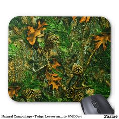 Natural Camouflage - Twigs, Leaves and Pinecones Mouse Pad