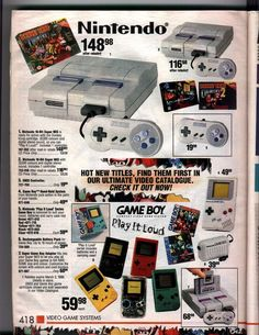 Game system ad (Past) Nintendo - Super Nintendo, Gameboy, Gameboy Color