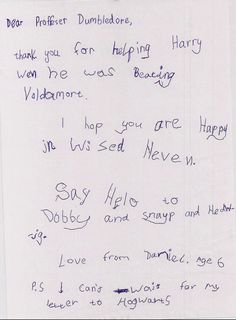6 year old's letter to Dumbledore. my heart just melted