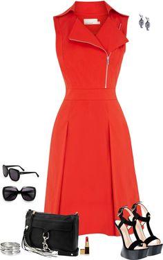 """Karen Millen Biker Style Dress"" by jpschwartz on Polyvore"
