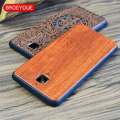BROEYOUE TPU Wood Case For OnePlus 3 A3000 Coque Real Wood Back Cover Case For Oneplus Three Oneplus 3T Cell Phone Cases Bags