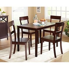 5 Piece Simple Classic Espresso Colored Dining Set (4 Chairs, 1 Table)