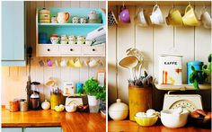 Bright vintage country style kitchen decor