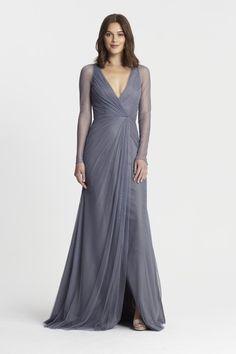 Monique Lhuillier - 450382 | Bridesmaids & Special Occasion at Jaehee Bridal Atelier  #aline #vneck #longsleeve #bridesmaid #bridesmaids #bridesmaiddresses