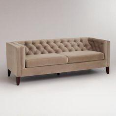 Mushroom Velvet Kendall Sofa | World Market