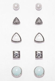 Mixed Faux Stone Stud Set | Forever 21 | #f21accessorize