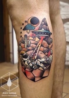 UFO spaceman tattoo - love the colours