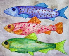 Tamara Hess Watercolor Fish, Watercolor Ideas, Ocean Art, Ocean Life, Frog Art, Portland Oregon, Best Artist, Rivers, Van Gogh