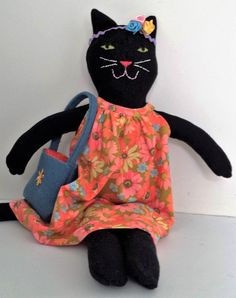 Black Cat Doll Cynthia Rag Doll Dress up doll by SaskiasStudio