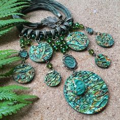 Forest jewellery, Forest necklace, Green necklace, Green jewelry, Polymer clay jewelry, Woman gift jewelry, Boho jewelry, Goddess necklace
