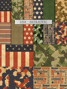 Camouflage and US Patriotic Patterns. Patterns