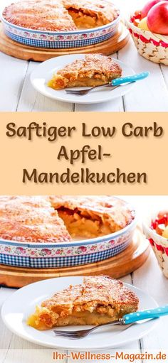 Saftiger Low Carb Apfel-Mandelkuchen - Rezept ohne Zucker Low Carb Apple & Almond Cake Recipe: The l Low Carb Sweets, Low Carb Desserts, Low Carb Recipes, Apple And Almond Cake, Almond Cakes, Vegan Snacks, Healthy Treats, Cake Recipe Without Sugar, Wine Recipes