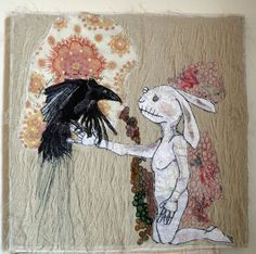 This is not a Love Song, embroidered textile with rabbit and crow  www.morwennacatt.co.uk