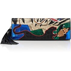 Saint Laurent Women's Patchwork Pochette ($2,590) ❤ liked on Polyvore featuring bags, handbags, clutches, patchwork leather handbags, multi colored clutches, genuine leather handbags, crocodile handbags and leather clutches