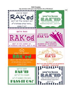 I have RAK printables to share today! Remember last week when I asked for a random act of kindness? And asked for someone to create RAK c. Printable Cards, Free Printables, Printable Labels, Blessing Bags, Kindness Matters, Pay It Forward, Character Education, Service Projects, Service Ideas