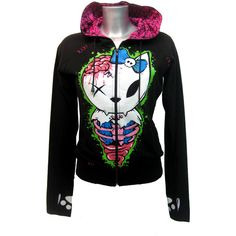 Bye Bye Kitty Zombie Hood | Gothic Clothing | Emo clothing |... ($56) ❤ liked on Polyvore