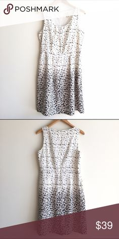 LOFT Black and White Print Sleeveless Dress Lined sleeveless dress with spots of black and white. Round neck. Zipper closure on back. EUC LOFT Dresses