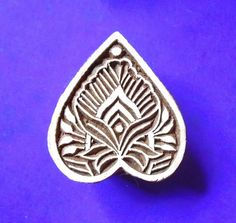 Art Nouveau Heart Shape Hand Carved Wood Stamp by PrintBlockStamps