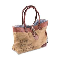 """Live Work Create (Square) - Reclaimed Canvas Shoulder Bag 19.5"""" W x 12"""" H x 4"""" D with 9"""" Handle Drop"""