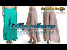 Ajj hum banaye ge Tulip palazzo( cutting and stitching). Hello Friends, Welcome to Creative Design, In today's video m gonna show you how to make tulip palaz. Fashion Pants, Fashion Dresses, Small Sewing Projects, Sewing Ideas, Sewing Patterns, Kurta Neck Design, Steps Youtube, Pattern Drafting, Palazzo Pants