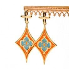 Cross  Pendant Earrings Orange and Turquoise