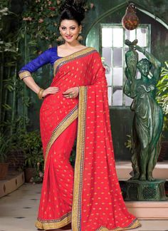 Red Crepe Saree With Zari Work
