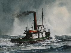 Steam Tugboat Katadin by James Williamson - Steam Tugboat Katadin Painting - Steam Tugboat Katadin Fine Art Prints and Posters for Sale Steam Boats, Ship Paintings, Merchant Navy, Boat Painting, Nautical Art, Tug Boats, Small Boats, Ship Art, Boat Plans