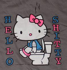 hello Goodbye Kitty, Hello Kitty, Bad Cats, Bad Kitty, Snoopy, Fictional Characters, Art, Walls, Gallery